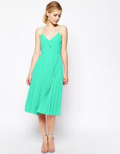 ASOS+Cami+Pleated+Midi+Dress