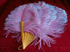 Attractive Large Vintage Pink & Blue Ostrich Feather Fan w/ Butterscotch Yellow Bakelite Monture, c. 1920's