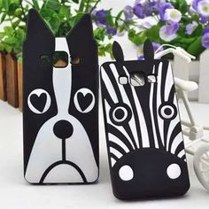 Lovely Cartoon Animal Cute Zebra / Dog Soft Silicone Rubber Gel Black Protective Case Cover Skin For Samsung Galaxy Finger Print Sensor, Tablets, Best Friends Forever, Dual Sim, Phone Covers, Protective Cases, Sims, Samsung Galaxy, Galaxies