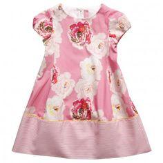 Simonetta Girls Pink Rose Cotton Dress with Block Stripe Hem at Childrensalon.com