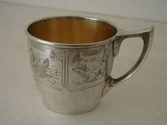 8f95c4825518 Antique R Blackinton Sterling Silver Baby Cup w Etched Farm Animals