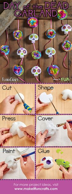 Create this Day of the Dead garland for your upcoming party!  Full tutorial.  Dia De Los Muertos #makeitfuncrafts