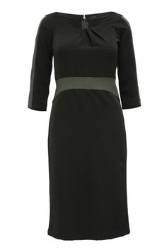Pull Black Semi Formal Work Dress. Black dresses for work are always a safe bet. Beautiful draped neckline and suede panels in this sensationally well fitted sheath dress.