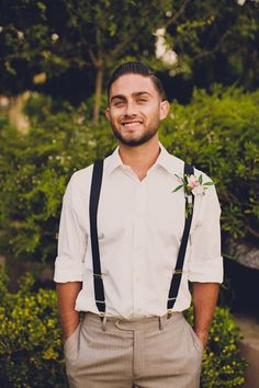It's so hot now that I can't imagine a groom wearing the whole suit with a vest and jacket – that's kind of crazy! So how about a cool groom look without a jacket? There are several options: wearing a vest, wearing just a shirt with suspenders. Groom Suspenders, Groom Ties, Groom Wear, Groom And Groomsmen, Vintage Groomsmen Attire, Wedding Groom, Wedding Suits, Wedding Attire, Trendy Wedding