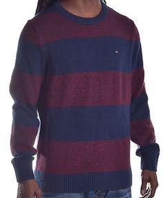 Tommy Hilfiger Men's Stripe Logo Pull Over Sweater