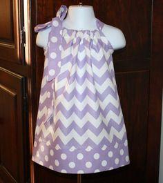 purple spring chevron Pillowcase dress riley blake lilac lavender polka dot toddler easter dress 3, 6, 9, 12, 18 mo 2t, 3t, 4T