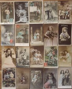 LOT-N-401-LOT-of-20-RPPC-FRENCH-Tinted-PHOTO-pc-FANTAISIES-EDWARDIAN-CHILDREN
