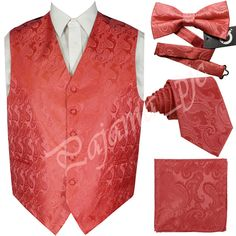 Coral XS 6XL Paisley Tuxedo Dress Vest Waistcoat Neck by Q2ties
