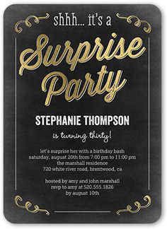 Birthday Invitations Sweet Surprise Rounded Corners Black 75th Parties 50th Party