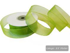 Grünes #Chiffonband, 25mm breit für schöne Bastelideen und #Tischdekorationen: http://www.trendmarkt24.de/chiffonband-gruener-apfel-rolle-25mm-breit-25m-lang.html#p