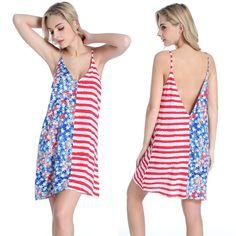 c7beeb88d53 Swimwear Bathing Suit Cover Ups Summer Beach Skirt Women USA Flag Swimsuit  Low-cut Deep V Neck Slip Beach Dress Tunic Vestidos