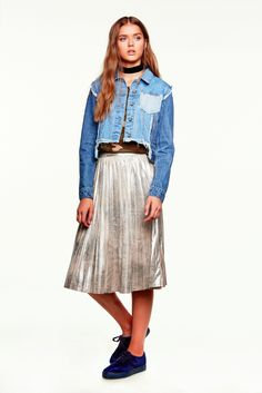 A pleated metallic skirt and denim jacket from the CASTRO 2016 Jeans Symphony Collection