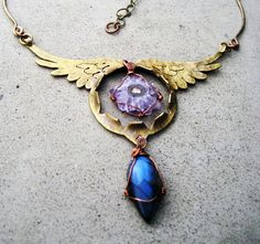 Angel Wing Amulet with Stalactite Amethyst and Labradorite by SilviasCreations http://etsy.me/ITffFK via @Etsy on Etsy, $198.00