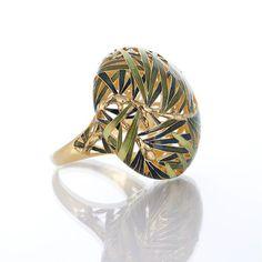 Cone ring by Ilgiz Fazulzyanov / gold, enamel