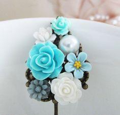 Turquoise Hair Pin Flower Hair Clip Floral Barrette Aqua Wedding Blue Bridesmaid Hair Accessories Shabby Chic Romantic Something Blue