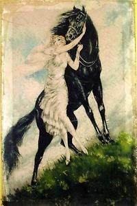 Vintage Horse Art | VINTAGE-PAINTING-PRINT-ICART-LADY-HORSE-ART-DECO-ON-CANVAS-READY-TO ...