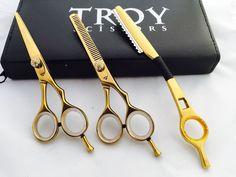 "5 5""Professional Hair Cutting Scissors Barber Shears Hairdressing Razor Kit New | eBay"