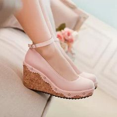 New  2014 Pastel Fashion Color Lolita Wedge Shoes. Three Colors Available