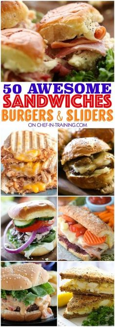 50 AWESOME Sandwiches, Burgers, and Sliders! 50 Awesome Sandwiches, Burgers and Sliders. this list is the perfect GO TO for spring and summer! So many yummy unique and delicious options to choose from! Slider Recipes, Burger Recipes, Slider Sandwiches, Meatball Sandwiches, Sliders Burger, Gourmet Sandwiches, Steak Sandwiches, Raspberry Chipotle Sauce, Tacos