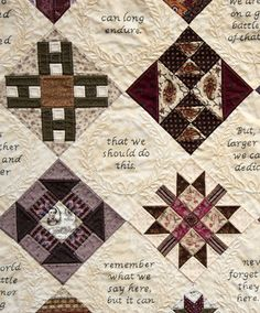 Civil War Quilts-Gettysburg Address embroidered to this quilt