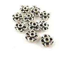 Floral Sterling Silver Beads // Flower Design by CastoGemstones, $6.50