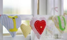 "Love is in the Air Garland. This ""Love is in the Air"" Garland is a sweet Valentine's Day decoration. Learn how to make a garland with this easy sewing project. Stuff each of the little hearts on this DIY garland with scented potpourri or dried flowers."