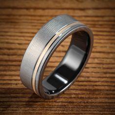 Black Zirconium Bi-Color Brushed Offset Yellow Gold Ring from Spexton Custom Jewelry