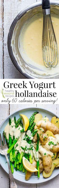 Greek Yogurt Hollandaise - lemon, egg yolks, unsalted butter (might reduce &/or sub ghee), plain Greek yogurt, Tabasco hot sauce, salt, white pepper