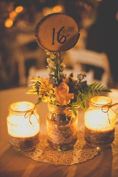 centerpiece @Kira Kira Kira Renee'  This is my fav. so far! The candle idea seems so romantic and homey!
