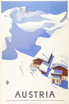 Large Vintage Travel Poster Skiing in Austria: Amazon.co.uk: Kitchen & Home
