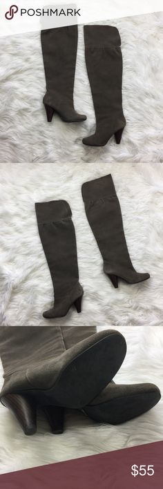 •• Over the Knee Boots • Gray Suede Leather Women's size 8 designer knee boots. Minor wear only (see pictures) overall in good condition. Only have been worn a handful of times. These boots go with EVERYTHING! (LLR0-0194/0190)  Material: Leather  Color: Medium Gray Restricted Shoes Over the Knee Boots
