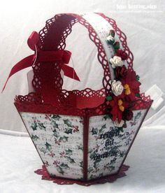 Lena Katrine`s Scrappeskreppe: Christmas Basket with a Tutorial