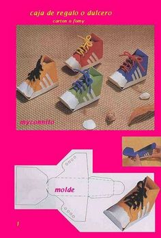 MOLDES cajas y sobres - - Picasa Web Albums Learn how to tie shoes Shoe Crafts, Bible Crafts, Paper Box Template, Shoe Template, Paper Shoes, Paper Art, Paper Crafts, Printable Box, Sunday School Crafts