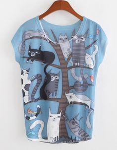 New Fashion Women O-Neck Short Sleeve Animal Print Casual Graphic Tees Loose T-shirt