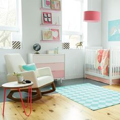 Isn't she pretty in pink? Love the ombre dresser (and we have a DIY for that, too!)