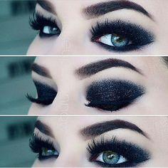 Metallic black glitter smoky eye makeup
