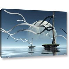 Cynthia Decker Ribbons Gallery-Wrapped Canvas, Size: 32 x 48, Blue