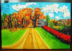 """""""Autumn Road"""" Featured Original Juried 24x36 Country Landscape Acrylic Painting by Brianna, Not For Sale"""