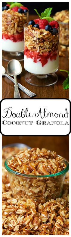 Double Almond Coconut Granola - deliciously addictive, this oat-free granola is easy to throw together with just 5 basic ingredients! You never buy granola again.