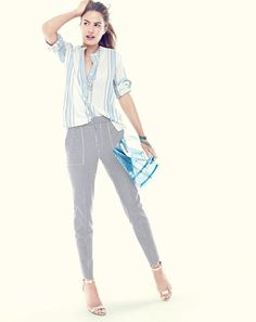 J.Crew women's collarless popover shirt in beach stripe, seersucker garden pant…