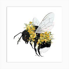 1 Tattoo, Tatoo Art, Square Art, Square Canvas, Bumble Bee Tattoo, Honey Bee Tattoo, Wie Zeichnet Man Manga, Bee Painting, Dibujos Cute