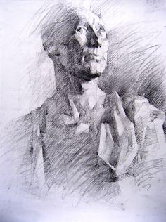 σχέδιο με κάρβουνο Drawing Sketches, Drawings, Charcoal Drawing, Sketchbooks, Graphite, Painting & Drawing, Portrait, Learning, School
