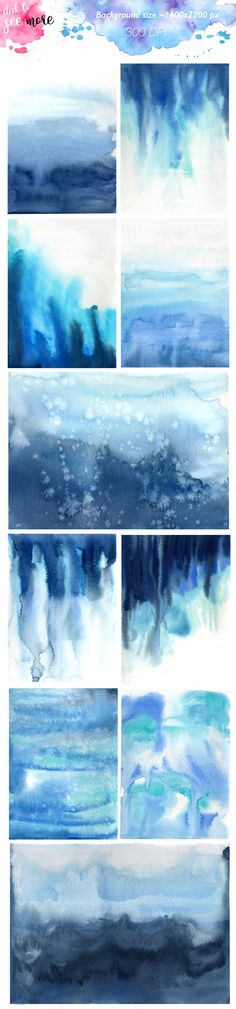 Watercolor Flow Blue Background  - Illustrations - 2