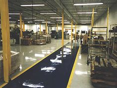 Industrial production lines divided by colors. Urethane and epoxy with multiple clear coats