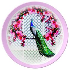 http://www.zazzle.com.au/peacock_cherry_blossoms_and_lattice-256427037887203853?rf=238523064604734277 Peacock Cherry Blossoms And Lattice - This porcelain plate features a peacock perching on a cherry blossom branch in front of a lattice wall.