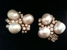 South Sea Pearl & Diamond ear clips .Amazing