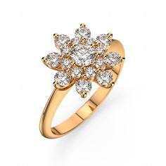 Somptueuse, bague fine et délicate en forme de marguerite modernisée elle peut être en or 18 carats ou platine 925 pour un poids total de 0.69 carat de 17 diamants qualité GSI1. [2399,00€]