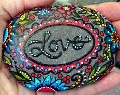 love / painted rocks /painted stones / by LoveFromCapeCod on Etsy