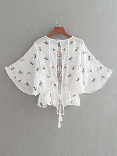 Flower Embroidery Open Back Tassel Tie Top -SheIn(Sheinside) Girls Fashion Clothes, Fashion Dresses, Clothes For Women, Blouse Styles, Blouse Designs, Fancy Tops, Baby Dress Patterns, Stylish Dress Designs, Crop Top Outfits