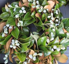 Magnolia Wreath showing the Green & Brown underside of the Leaves, and Berries accent.